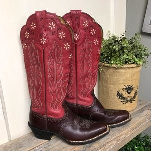 Ariat Tall Red Brown Leather Western Boot 8